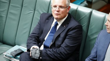 Treasurer Scott Morrison used a piece of a coal as a prop in federal Parliament on February 9.