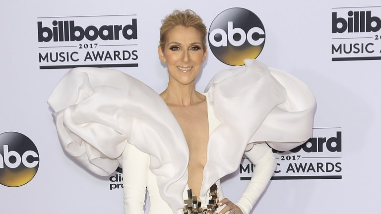 Celine Dion, posing in the press room of the 2017 Billboard Music Awards, is living her best sartorial life.