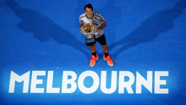 Back on top: Roger Federer celebrates his 2017 Australian Open triumph.