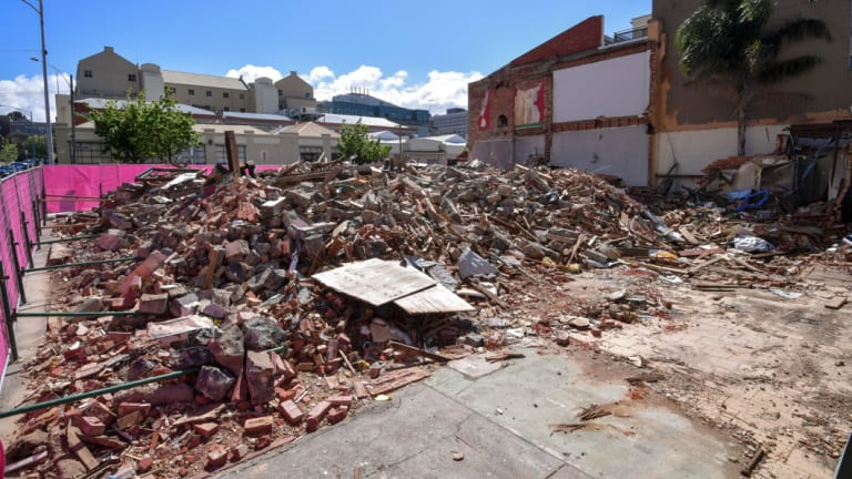 The demolished remains of the Corkman pub.