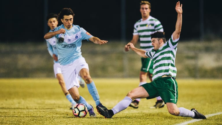 Belconnen United rising star Daniel Fabrizio (left) missed this season with a knee injury but is expected to make his comeback in the NYL.