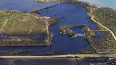 An image showing environmental damage to wetlands bordering Adani's Abbot Point coal terminal.