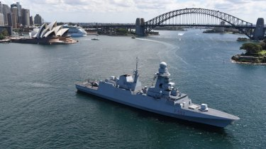 A Fincantieri-built Italian navy FREMM frigate, the Carabiniere, during a visit to Sydney last year.