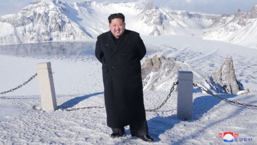"North Korean leader Kim Jong-un was said to have climbed Mount Paektu in ""smart shoes"" last year."