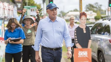 Home Affairs Minister Peter Dutton at Albany Creek State School in Brisbane on Saturday.