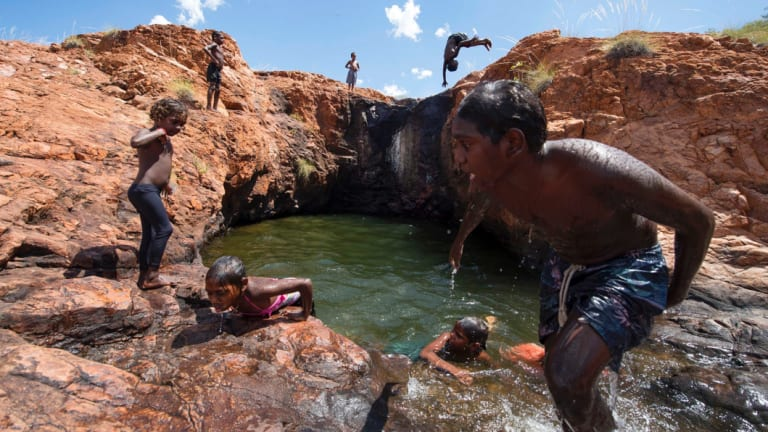 'The Upper Rock pools at Middle Springs', East Kimberley, part of the Australian Life exhibition at Art & About Sydney.