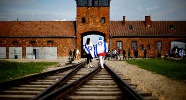 The railway tracks leading to the former Nazi death camp Auschwitz-Birkenau.