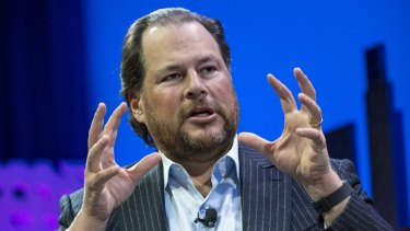 Salesforce chief Marc Benioff is going head-to-head with Microsoft.
