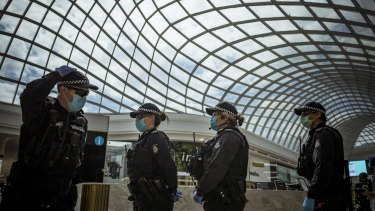 Victorian Police sweep Chadstone Shopping Centre after a small number of people staged an anti-lockdown protest last month.