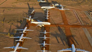 Grounded aeroplanes in Alice Springs.