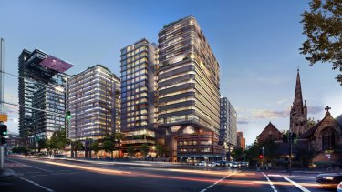 Artist's impression of the Impact building, Duo, in Central Park, Chippendale
