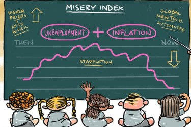 Reserve Bank boss Philip Lowe as a teacher pointing to the end of a blackboard board graph (labelled 'misery index, unemployment + inflation') with various economics phrases (like 'then: higher prices, less work' and 'now: global, new tech, automated' and 'stagflation' on it. Illustration for Ross Gittins by Matt Davidson.
