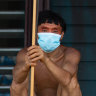 A Yanomami man awaits medical attention during the coronavirus pandemic in Alto Alegre, Roraima, Brazil. Indigenous representatives say 405 tribespeople have died of COVID-19 int he Amazon, and more than 9000 have been infected.