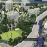 """Roma Street Parklands showing how a portion of the extra state government land - now leased by Brisbane City Council - will be shared between parkland and new residential housing. Ten per cent of apartments must be """"affordable""""."""