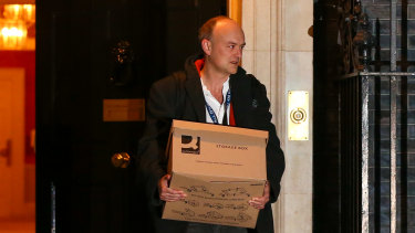 Dominic Cummings leaves Downing Street for the final time last November.