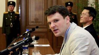 Otto Warmbier pictured last year in Pyongyang.