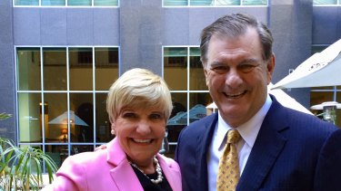 Forth Worth mayor Betsy Price and Dallas mayor Michael Rawlings at Brisbane on Monday.