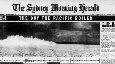 The front page of The Sydney Morning Herald on7 September 1995 decrying French nuclear testing in the Pacific.