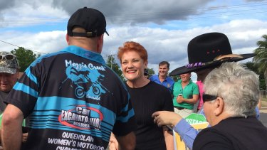 Pauline Hanson had a line of locals asking for selfies outside the Clermont Grand Hotel on Saturday afternoon.