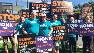 Protesters outside the centre run by the company operated by Peter Dutton's family trust.