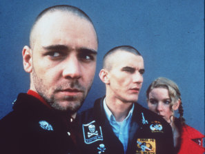 Russell Crowe (left) in a cast shot for the movie Romper Stomper.