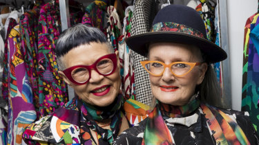 Fashion designers Jenny Kee and Linda Jackson at the Powerhouse Museum in Sydney to announce their new exhibition.