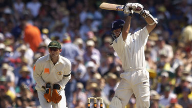 Vaughan strikes a boundary during the New Year's Test at the SCG in 2004.
