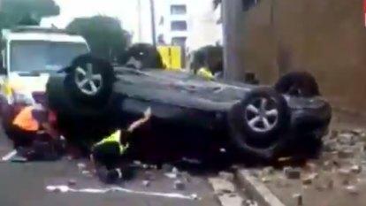 Driver's lucky escape after crashing through second level of car park