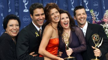Will and Grace team: Shelley Morrison, Eric McCormack, Debra Messing, Megan Mullally and Sean Hayes celebrate their wins at the 2000 Emmy Awards in Los Angeles.