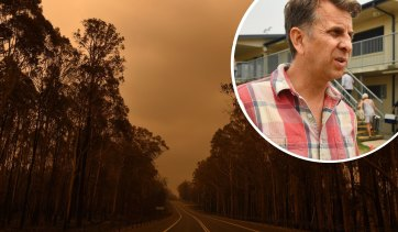 The Princes Highway between the towns of Bodalla and Mogo in January 2020 and Transport Minister Andrew Constance.