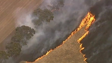 This fast-moving grass fire at Strathallen has burning out of control for hours on Thursday afternoon.