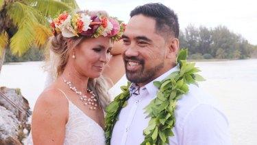 "Tegan and Jerome Iakimo on their wedding day in Rarotonga, which Tegan Iakimo says was a ""disaster""."