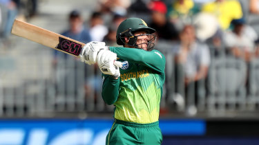Despatched: Quiton de Kock top-scored for South Africa with 47 before being dismissed by Nathan Coulter-Nile.