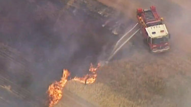 Fire crews taking on the Strathallan grass fire. It is now at 'Watch and Act' level.