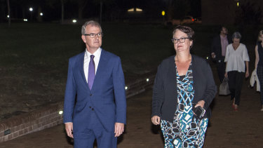 Labor leader Michael Daley and deputy Penny Sharpe arrive at the debate.