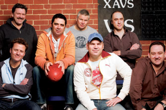 Triple M footy callers (back) Brian Taylor, Garry Lyon, Danny Frawley, Wayne Schwass. (Front) James Brayshaw, Jason Dunstall, Mike McLean.