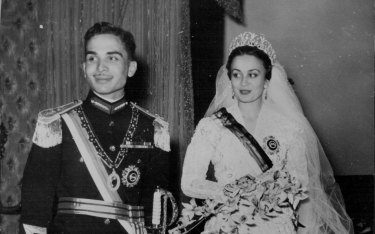 King Hussein, the 19-year-old ruler of Jordan, with his bride and Queen, Princess Dina Abdul Hamid, 1955.