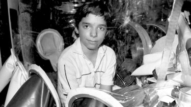 David Vetter, seen here in 1982, was born with immune deficiency and lived in a protective enclosure. He died in 1984 through complications from an experimental bone marrow transplant aimed at ending his isolation.