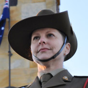 Lieutenant Colonel Natalie Wigg at the 2018 dawn service in Fremantle.