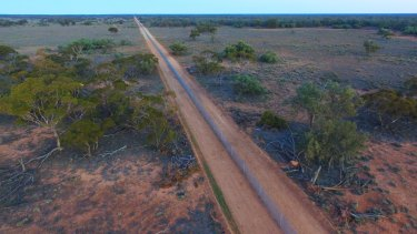 The electrified fence protecting native animals inside 9,500 hectares of Mallee Cliffs National Park.