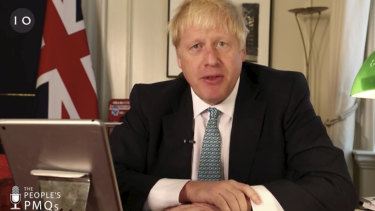 British Prime Minister Boris Johnson addresses the public from Downing Street via Facebook.