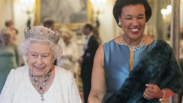 Baroness Scotland with the Queen during the Commonwealth Heads of Government Meeting (CHOGM) in London in 2018.