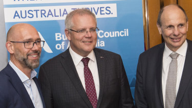 BCA managing director Grant King (right) with Prime Minister Scott Morrison.