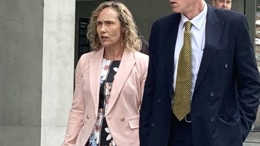Gold Coast Police Superintendent Michelle Francis Stenner leaves Brisbane District Court on Monday.