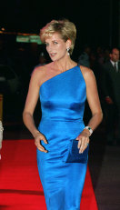 The Princess of Wales wearing a Versace dress as she attends a dinner dance on October 31, 1996 in Sydney, Australia.