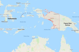 Papua, Indonesia, in red.