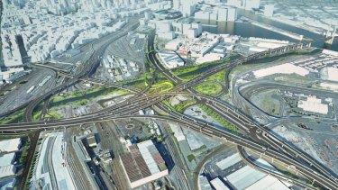 The flyovers to be built in West Melbourne as part of the West Gate Tunnel project.