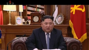Kim Jong-un delivers a televised new year speech in North Korea.