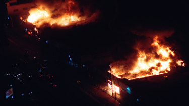 Central Los Angeles burns during the riots.