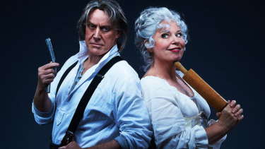 Anthony Warlow and Gina Riley star in Sweeney Todd.